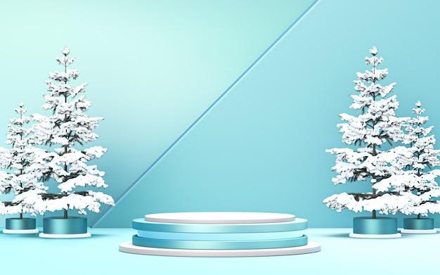 冬のメリークリスマスの背景製品プロモーション3dレンダリングのための豪華な表彰台ディスプレイ