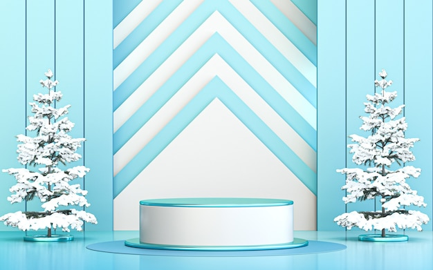 Зима счастливого рождества фон роскошный подиум дисплей для продвижения продукта 3d рендеринг