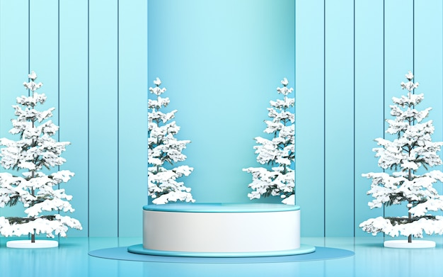 Winter merry christmas background luxury podium display for product promotion 3d rendering
