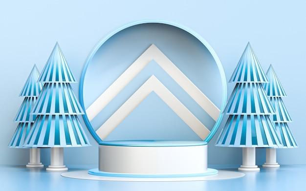 Зима счастливого рождества синий и белый роскошный подиум для презентации продукта 3d рендеринг