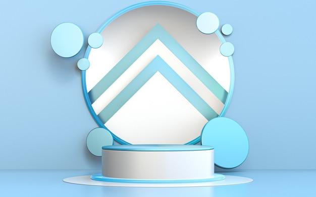 Зима счастливого рождества синий круг роскошный подиум для презентации продукта 3d рендеринг