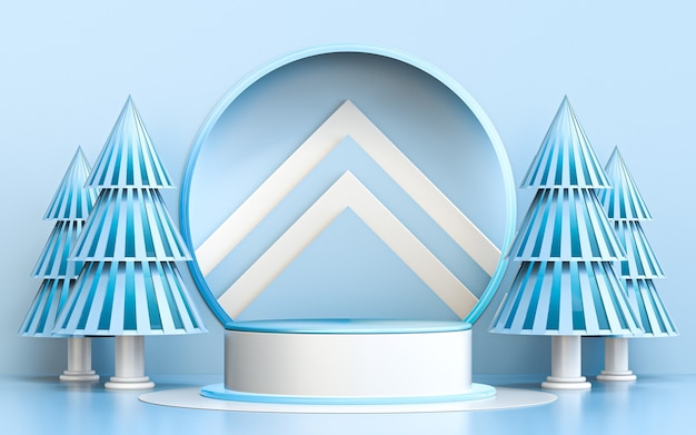 Winter merry christmas blue and white luxury podium display for product presentation 3d rendering