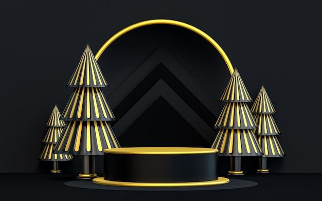 Зима счастливого рождества роскошный темный и золотой подиум для презентации продукта 3d рендеринг