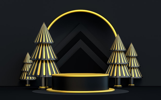 Winter merry christmas luxury dark and gold podium display for product presentation 3d rendering