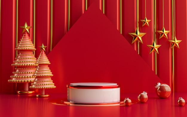 冬のメリークリスマスの豪華な赤と金の表彰台ディスプレイ製品プレゼンテーション3dレンダリング