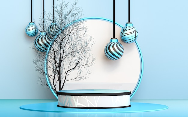 Зимняя веселая рождественская елка с синим роскошным подиумом для презентации продукта 3d-рендеринга
