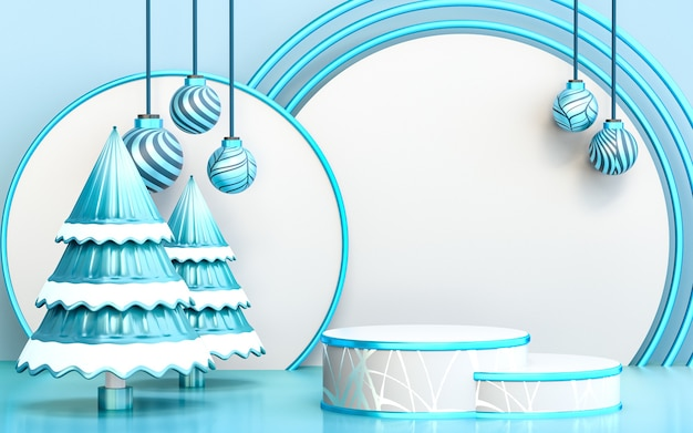 Winter merry christmas tree with blue luxury podium display for product presentation 3d rendering