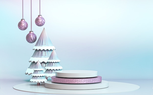 Winter merry christmas tree with luxury podium display for product presentation 3d rendering