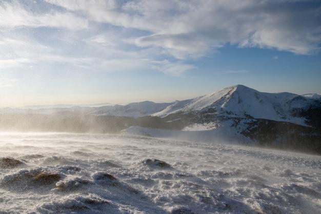 겨울 아침 산 풍경 재치 매우 강력한 바람과 눈 펠릿 폭풍
