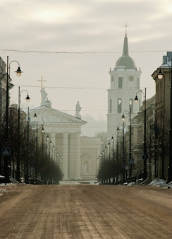Winter morning in vilnius, lithuania,  empty street