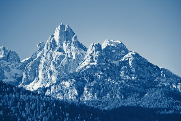 Winter mountain landscape classic blue toned