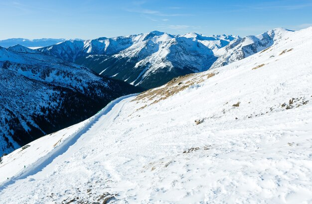 Winter mountain landscape. the kasprowy wierch  in the western tatras (poland).