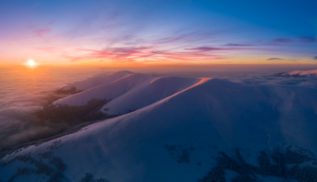 Winter mountain landscape. view of the dawn sky from mount gimba.