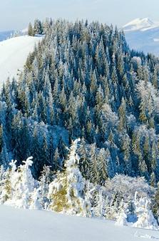 Зимний горный пейзаж (вид с горнолыжного курорта буковель (украина) на гору сивуля)