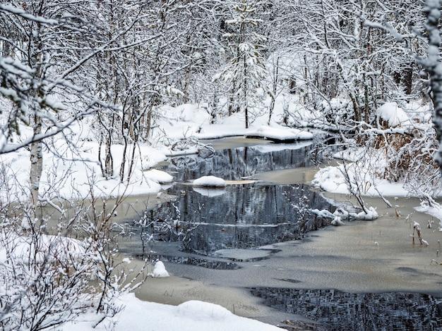 Зимняя горная река в карелии протекает через лес. сила дикой величественной природы.