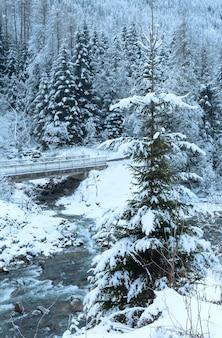 Зимний вид на горный ручей с мостом через воду и снежный лес (австрия).