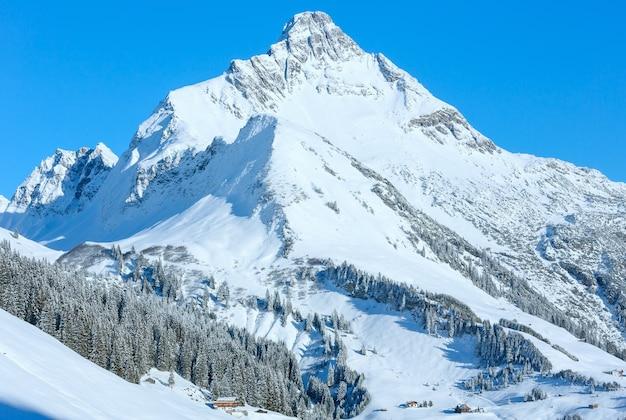 雪に覆われた斜面 (オーストリア、チロル) を持つ冬の山のトップ ビュー。 Premium写真