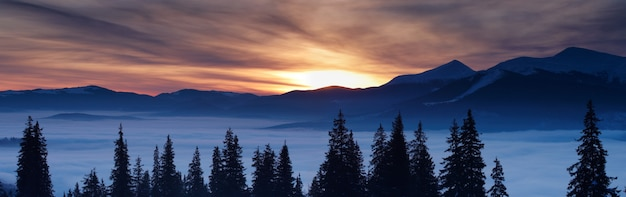 冬の山と日の出雲の上もみ
