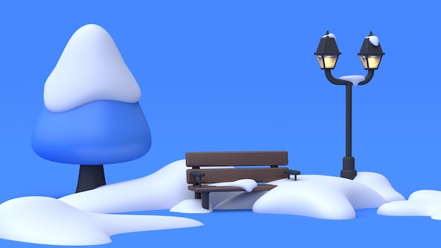 Winter nature tree chair many snow lamp blue scene abstract cartoon style 3d rendering