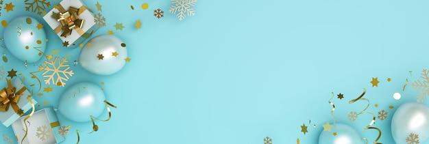 Зимний или с новым годом фон со снежинками на воздушном шаре подарочной коробки на синем, копией пространства