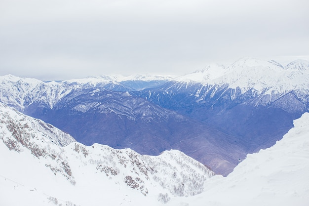 Winter panorama view of mountains. cold winter maille cloudy day in mountains