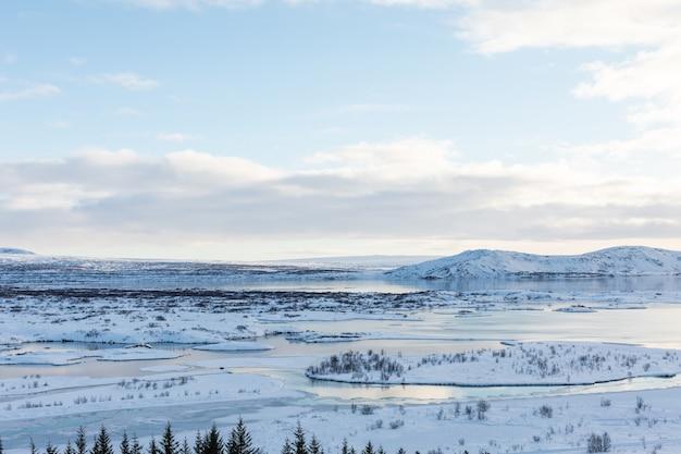 Winter panorama with snow and ice on lake thingvellir iceland view 50mm