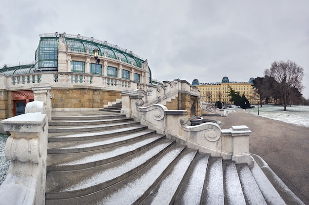 Winter panoramic image of the staircase towards imperial butterfly house in vienna