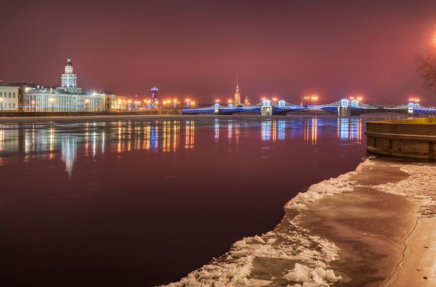 Winter pink morning landscape of the neva in st. petersburg with a view of the palace bridge and the kunstkamera