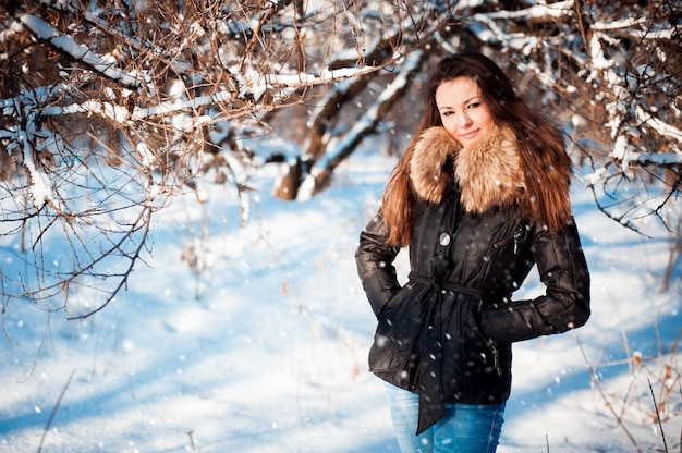 Winter portrait of a girl in a jacket with a fur collar.