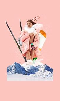 겨울. 핑크 자연 풍경 배경 위에 포즈를 취하는 아름 다운 여자의 초상화. 현대 미술 콜라주입니다. 자연 경관 요소로 현대적인 스타일의 창의적인 개념적 삽화. 광고 공간을 복사합니다.