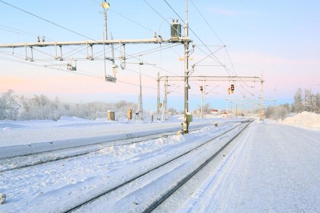 Winter railroad platform