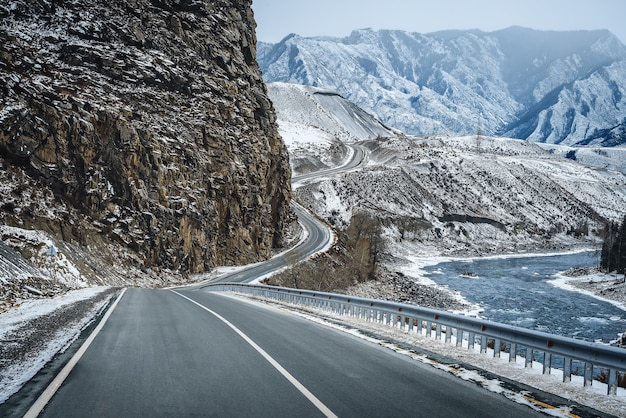 Winter road in mountains. snow.
