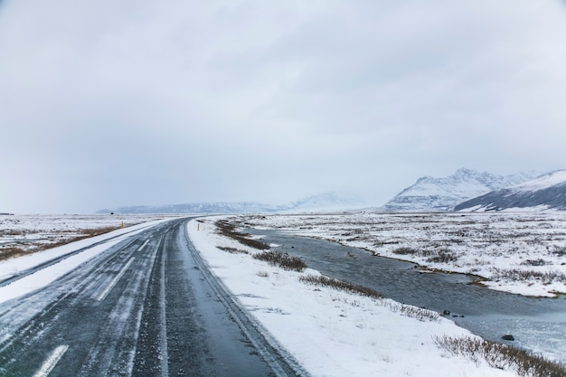 Winter road in southern iceland, northern europe.