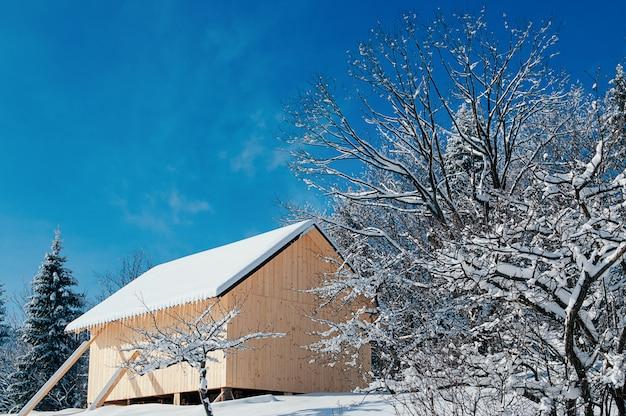 冬の田園風景の青い空