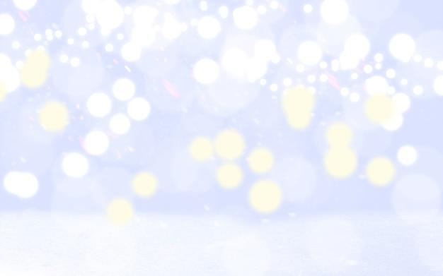 冬の気分がやってくる。キラキラヴィンテージライトの背景。焦点がぼけたボケ効果。背景、広告やデザインの壁紙、デバイス。コピースペース。魔法のきらめき。