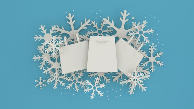 Winter sale banner design with white snowflakes . paper art style 3d rendering.