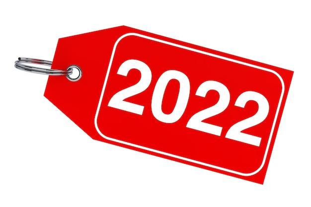 겨울 판매 개념입니다. 흰색 바탕에 2022 새 해 태그입니다. 3d 렌더링