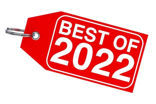 겨울 판매 개념입니다. 흰색 바탕에 2022년 새해 태그의 베스트. 3d 렌더링