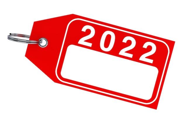 겨울 판매 개념입니다. 흰색 바탕에 새 해 2022 태그입니다. 3d 렌더링