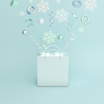 Украшение зимней распродажи с сумкой для покупок, снежинками, лентой