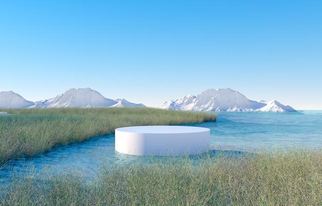 表彰台と湖を望む冬景色