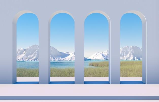 Зимняя сцена с геометрическими формами, арка с видом на озеро