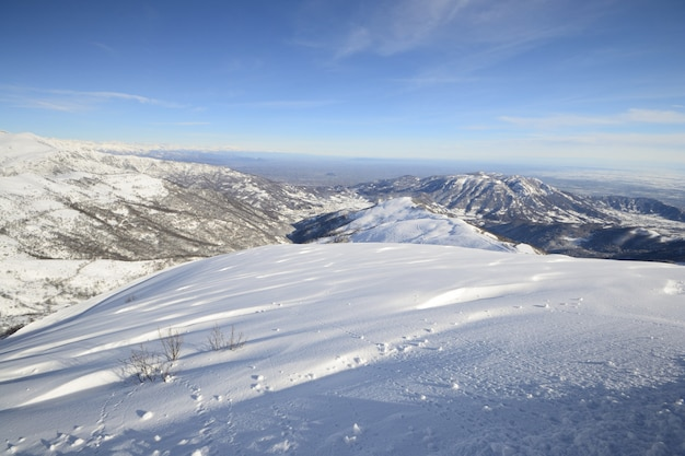 Winter scenic landscape in the italian alps with snow.