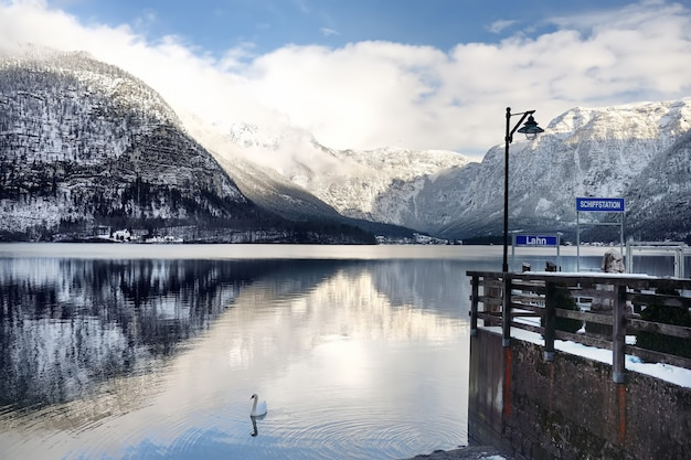 Winter scenic view of village and lake of hallstatt in the austrian alps