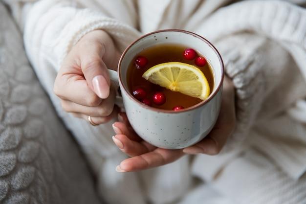 冬のシーズンのコンセプトです。レモンとクランベリーのスライスと熱いお茶のカップを保持している暖かい毛布で覆われたウールのセーターの女性。