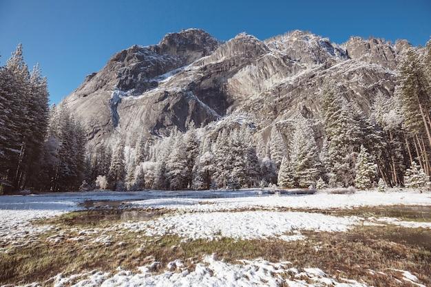 Зимний сезон в национальном парке йосемити, калифорния, сша