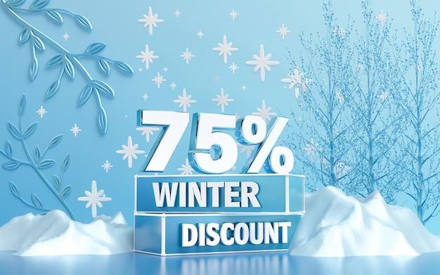 ソーシャルメディアのバナーまたはポスターの3dレンダリングの冬季特別割引の背景