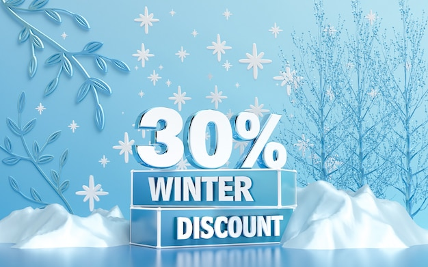 Winter season special discount background for social banner or poster 3d rendering