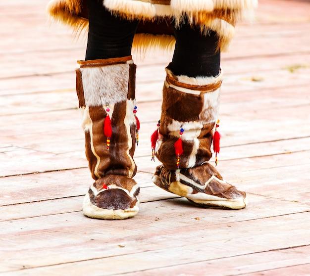캄차카 원주민을 위한 겨울 신발.