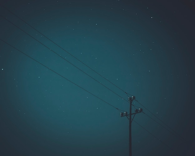 Winter sky with electric pole